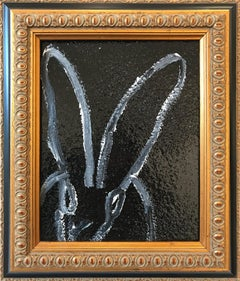 """Untitled (Bunny on Black Diamond Dust)"" Oil Painting on Wood Panel"