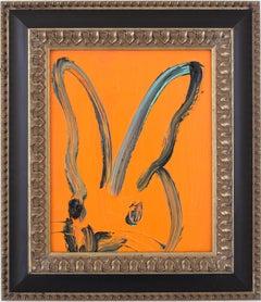 """Untitled (Bunny on Hot Orange)"" Oil Painting on Wood Panel"