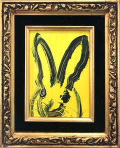 Untitled  (Bunny on Royal Yellow) Oil Painting on Wood Panel