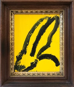 """Untitled (Bunny on Tuscany Yellow)"" Oil Painting on Wood Panel"
