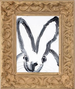 """Untitled (Bunny on White)"" Oil Painting on Wood Panel"