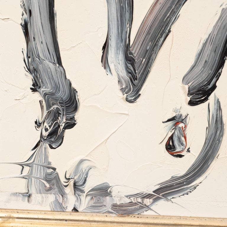 Untitled (Bunny Paintiing) ATC691 - Gray Animal Painting by Hunt Slonem