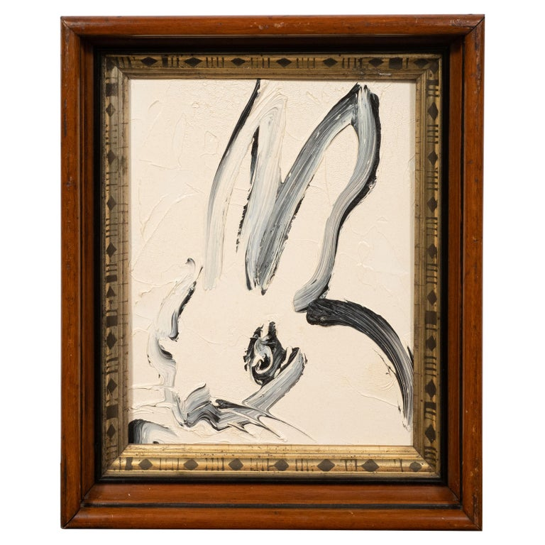 Untitled (Bunny Painting) CKS0134 - Beige Animal Painting by Hunt Slonem