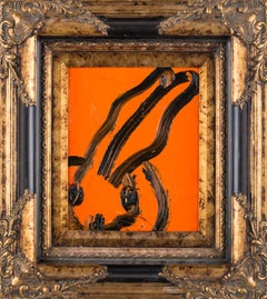Black and Orange Bunny, Antique Frame, Original Oil Painting