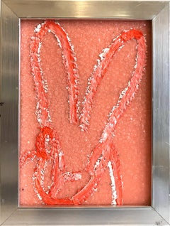 """Untitled"" (Resin and Diamond Dust Bunny on Peach) Oil Painting on Wood Panel"