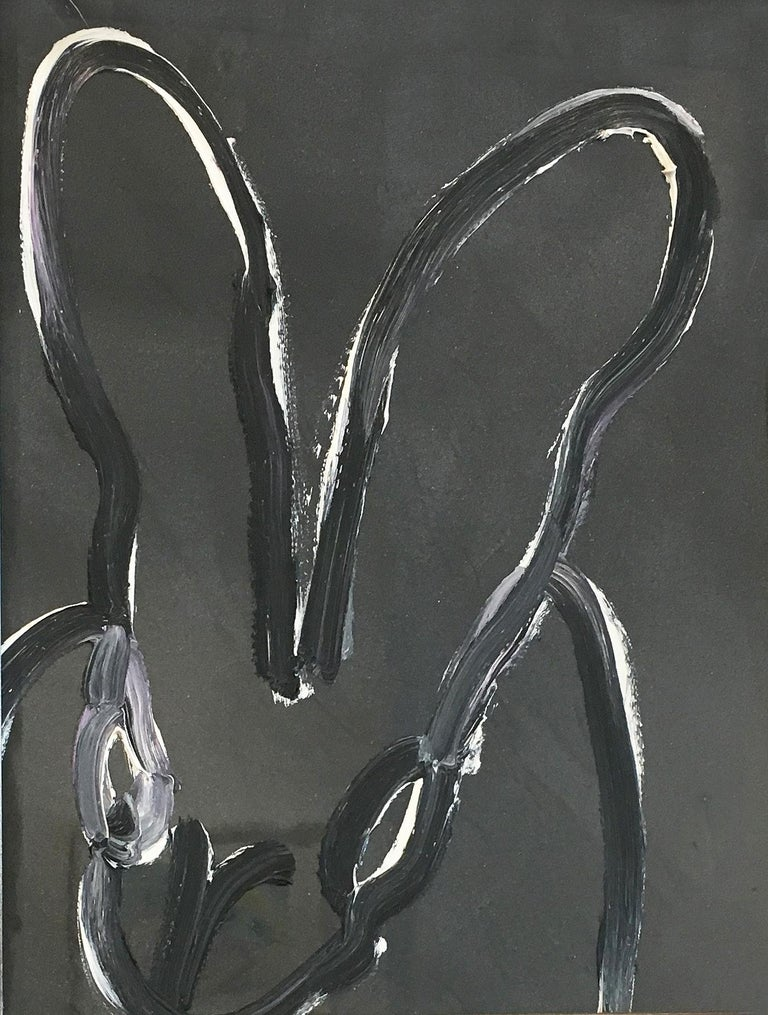 Hunt Slonem bunny resin painting 'Untitled' For Sale 1