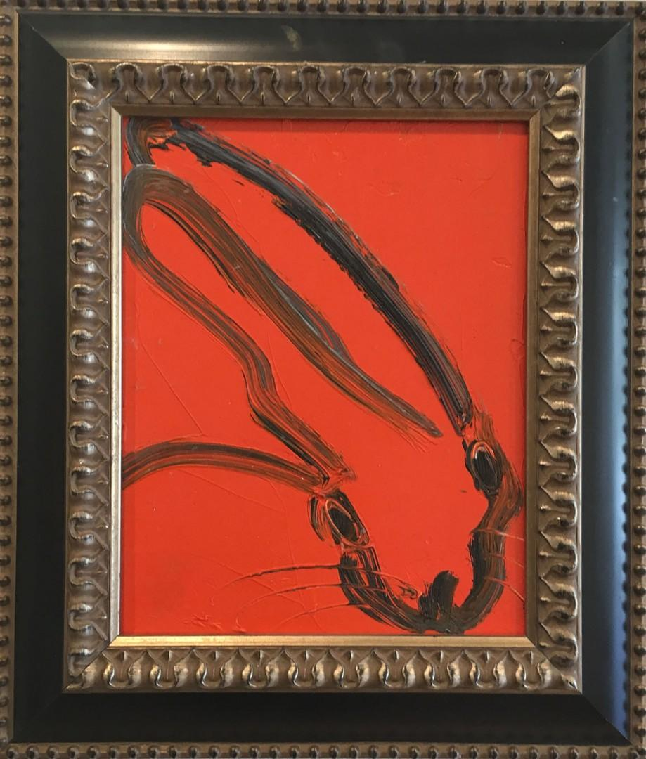 Hunt Slonem Red Bunny oil painting 'Untitled'