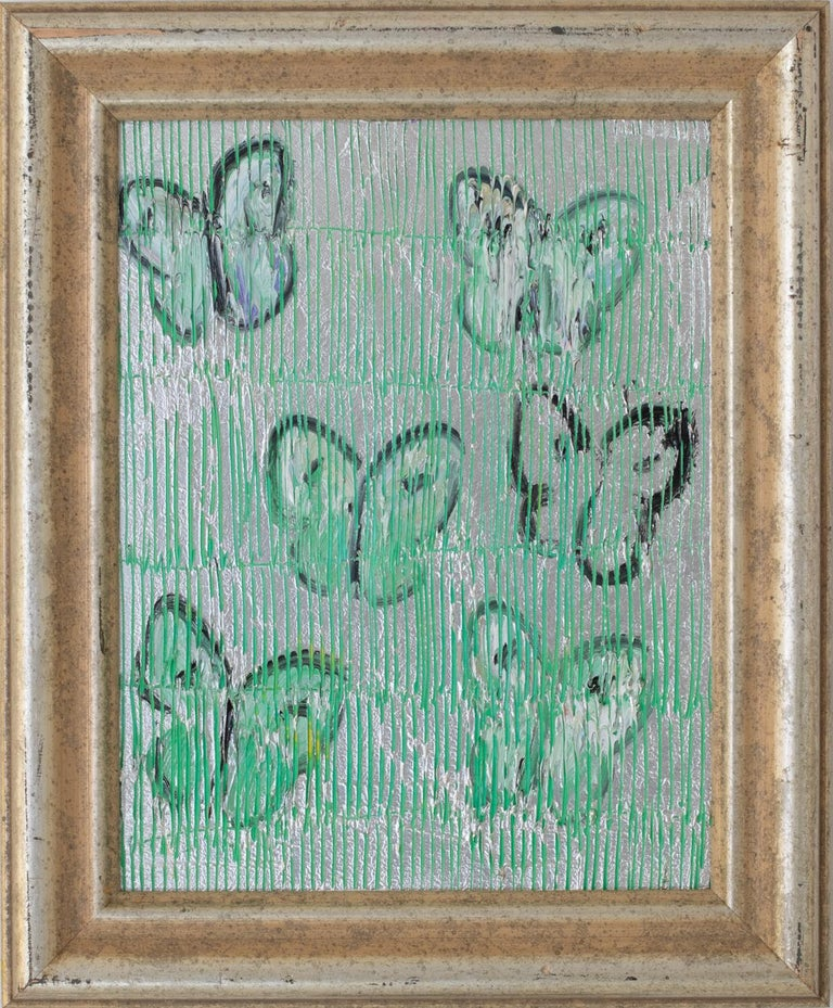 Untitled (Green & Silver) - Painting by Hunt Slonem