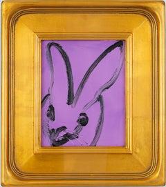 Untitled Lavender Bunny (EA00516)- framed bunny on lavender by hunt slonem