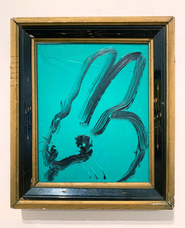 Untitled (Light Sea Green Bunny) - Contemporary Painting by Hunt Slonem