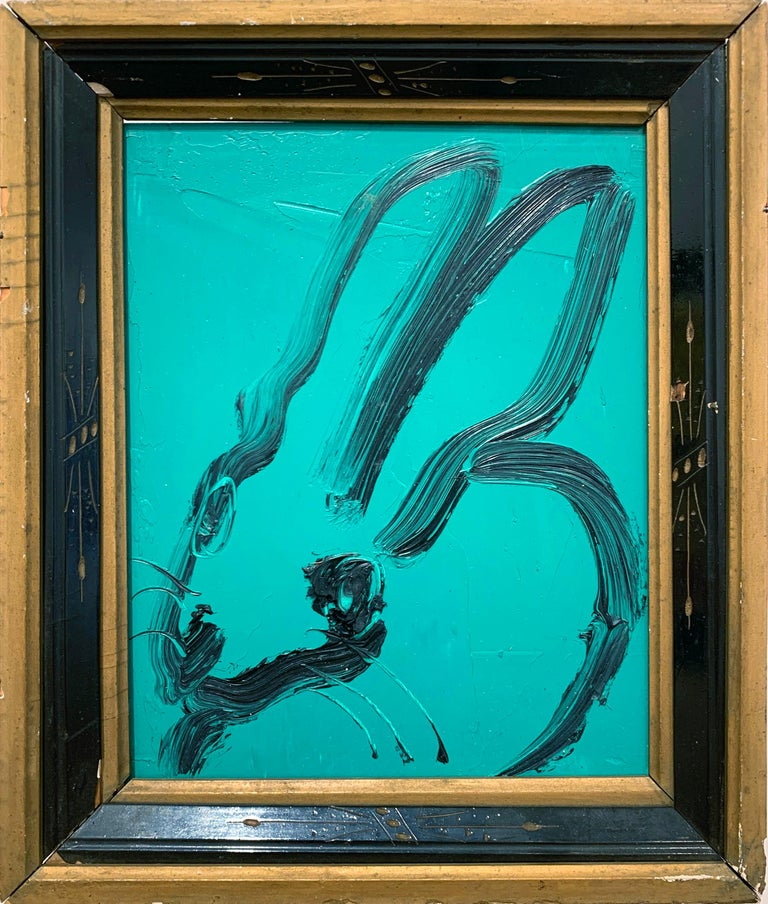 Untitled (Light Sea Green Bunny) - Painting by Hunt Slonem