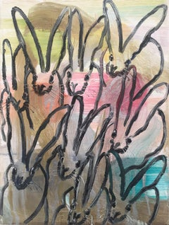 Untitled, Multicolored Bunnies on Gold and Silver Background