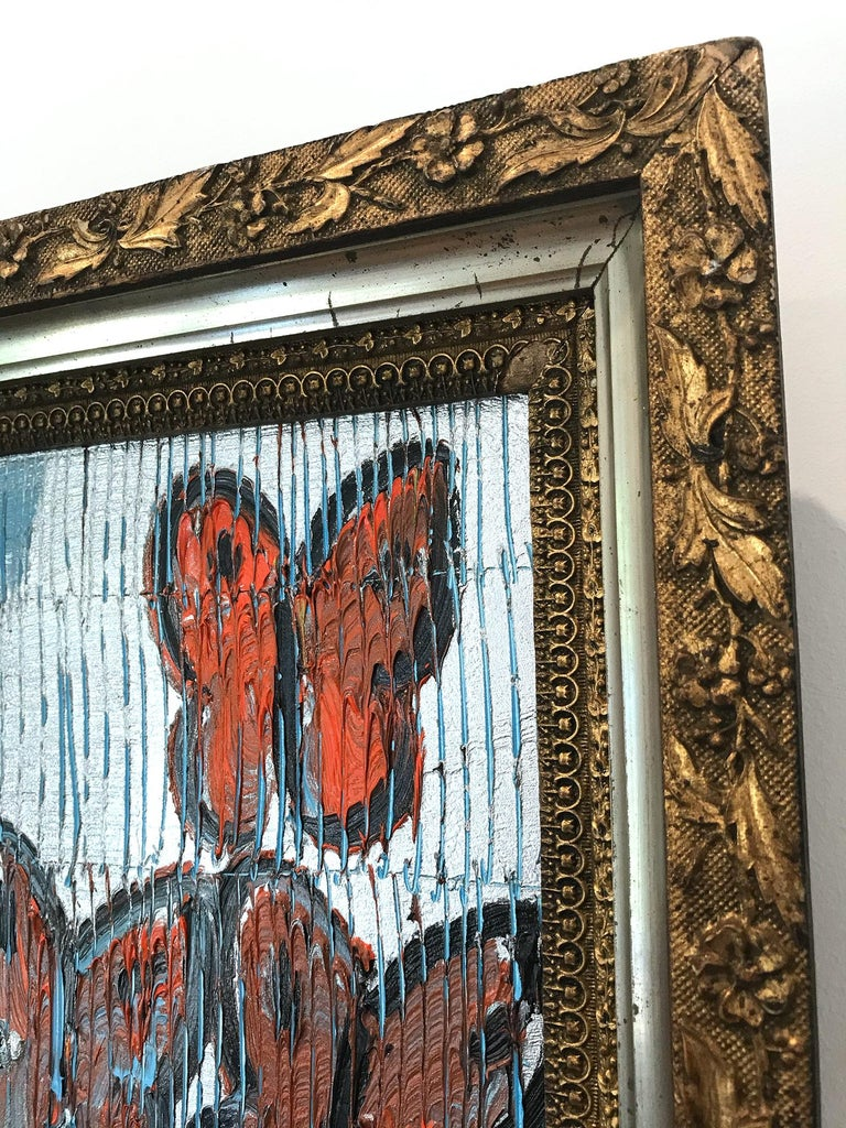 Untitled (Orange Butterflies on Silver Background Scoring) Oil on Wood Panel For Sale 5