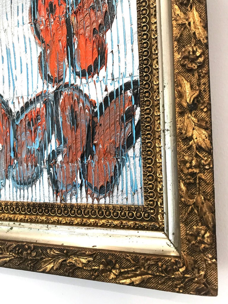 Untitled (Orange Butterflies on Silver Background Scoring) Oil on Wood Panel For Sale 6