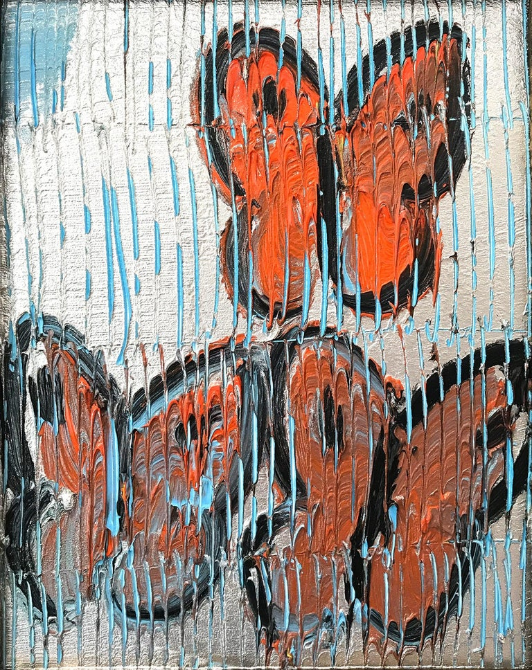 Untitled (Orange Butterflies on Silver Background Scoring) Oil on Wood Panel - Painting by Hunt Slonem