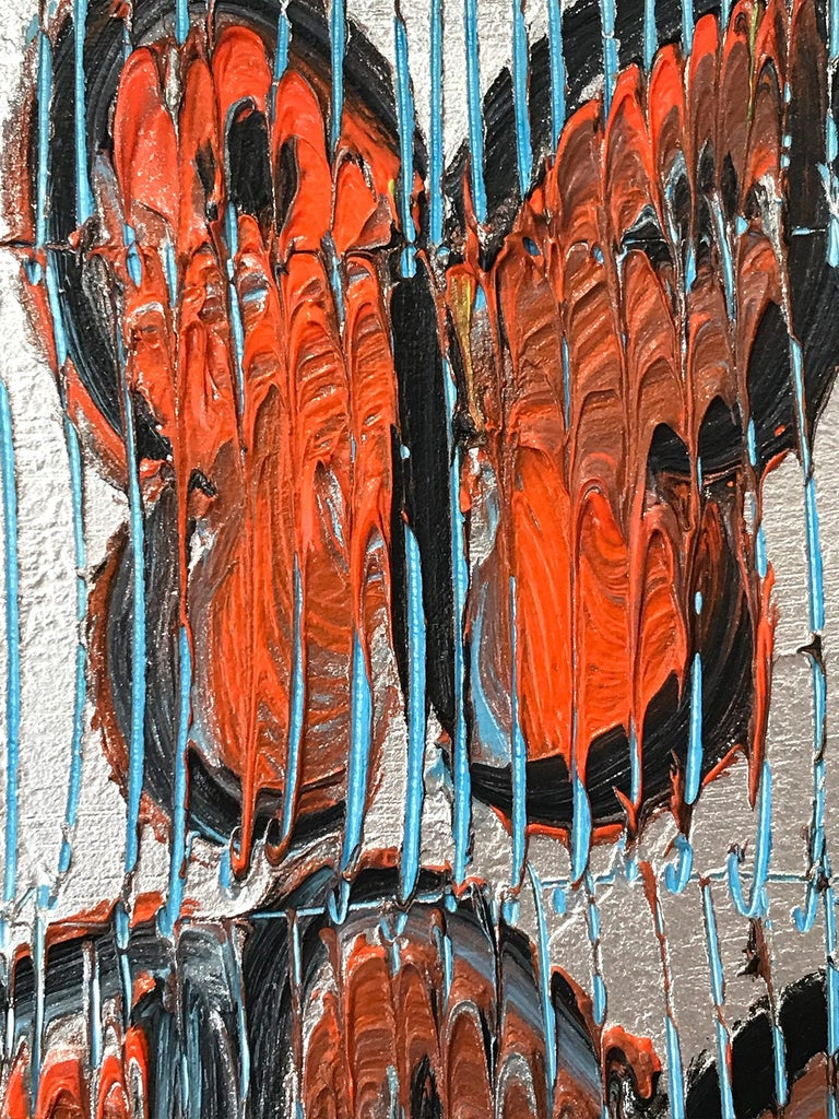Untitled (Orange Butterflies on Silver Background Scoring) Oil on Wood Panel - Neo-Expressionist Painting by Hunt Slonem
