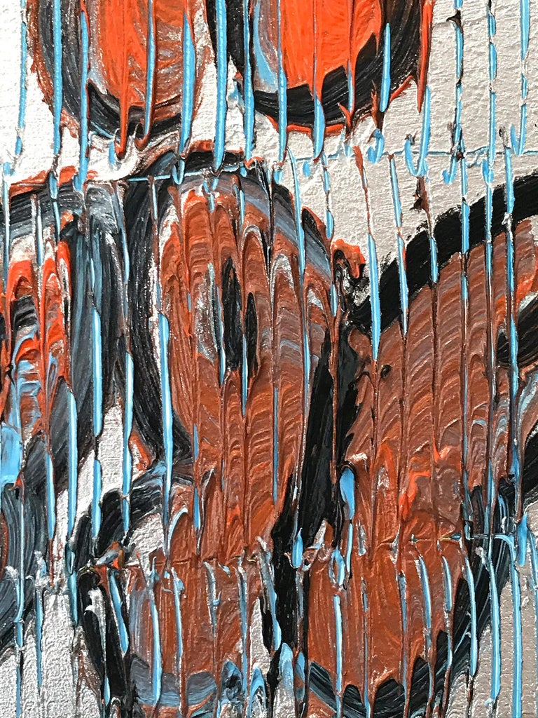Untitled (Orange Butterflies on Silver Background Scoring) Oil on Wood Panel - Brown Abstract Painting by Hunt Slonem