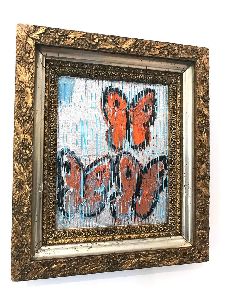 Untitled (Orange Butterflies on Silver Background Scoring) Oil on Wood Panel For Sale 2