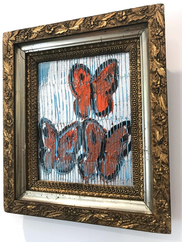 Untitled (Orange Butterflies on Silver Background Scoring) Oil on Wood Panel For Sale 3