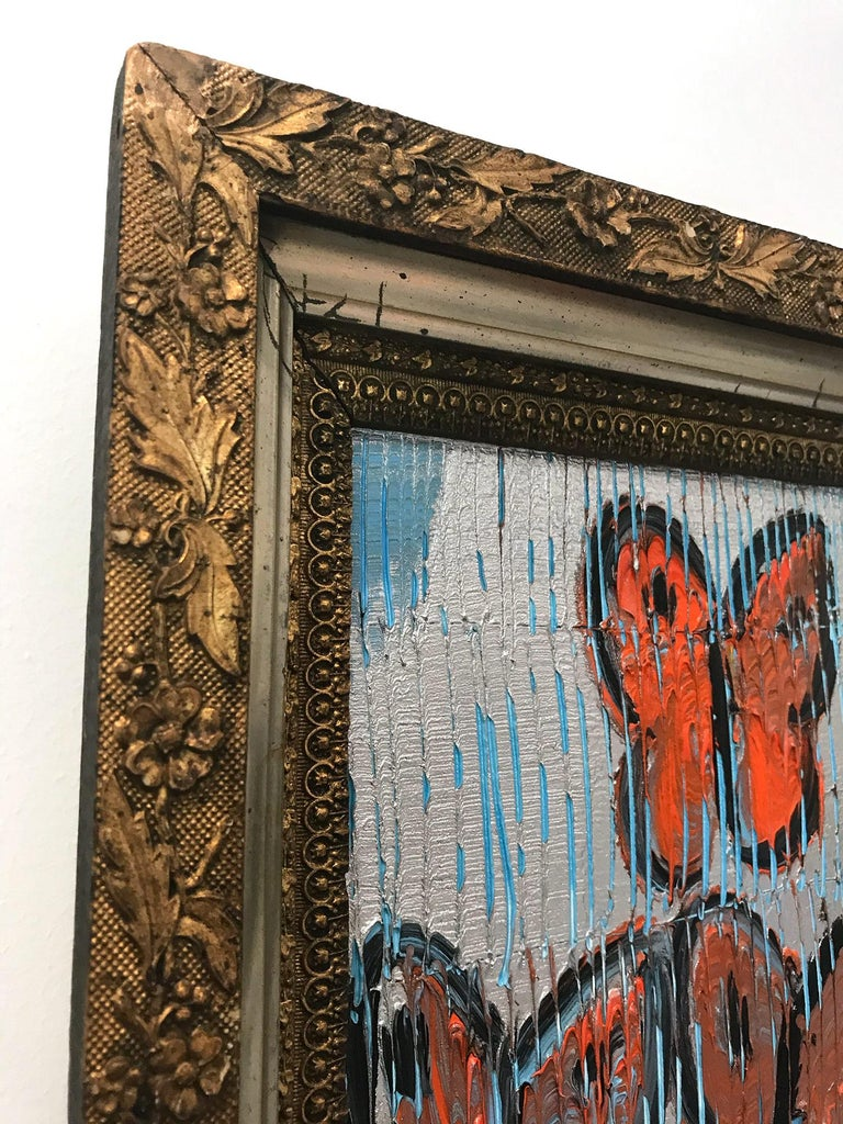 Untitled (Orange Butterflies on Silver Background Scoring) Oil on Wood Panel For Sale 4