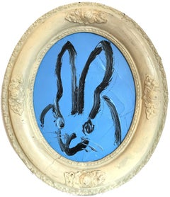 """Untitled (Oval Bunny on Azure Blue)"" Oil Painting on Wood Panel"