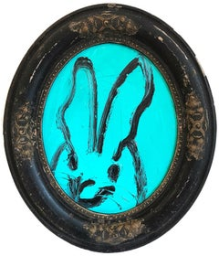 """Untitled (Oval Bunny on Turquoise)"" Oil Painting on Wood Panel"