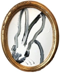 """Untitled (Oval Bunny on White)"" Oil Painting on Wood Panel"