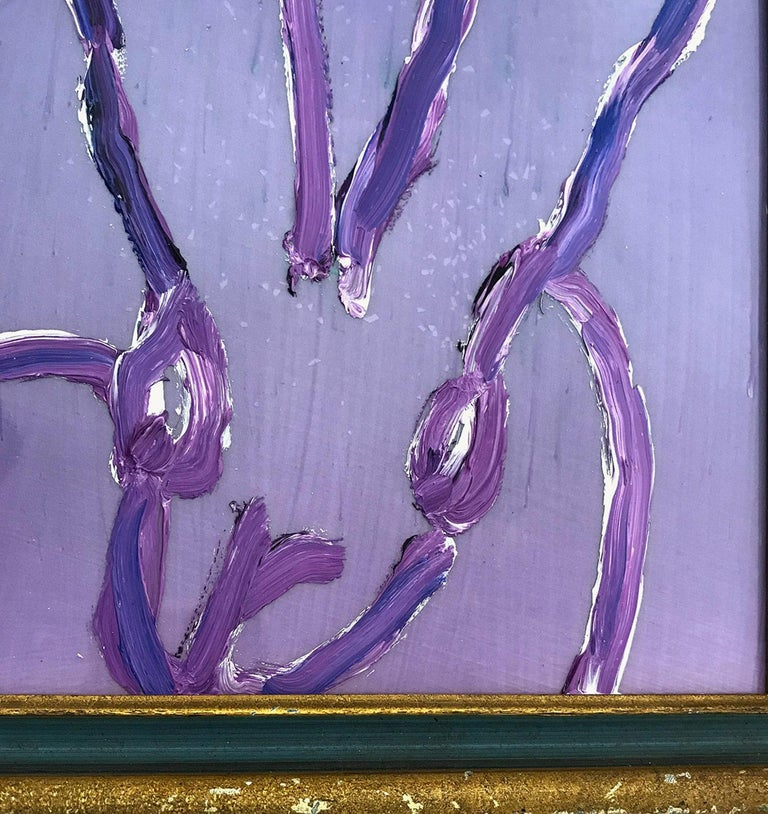 A wonderful composition of one of Slonem's most iconic subjects, Bunnies. This piece depicts a gestural figure of a dark purple bunny on resin purple pearl background with thick use of paint. It is housed in a wonderful antique 19th Century frame.