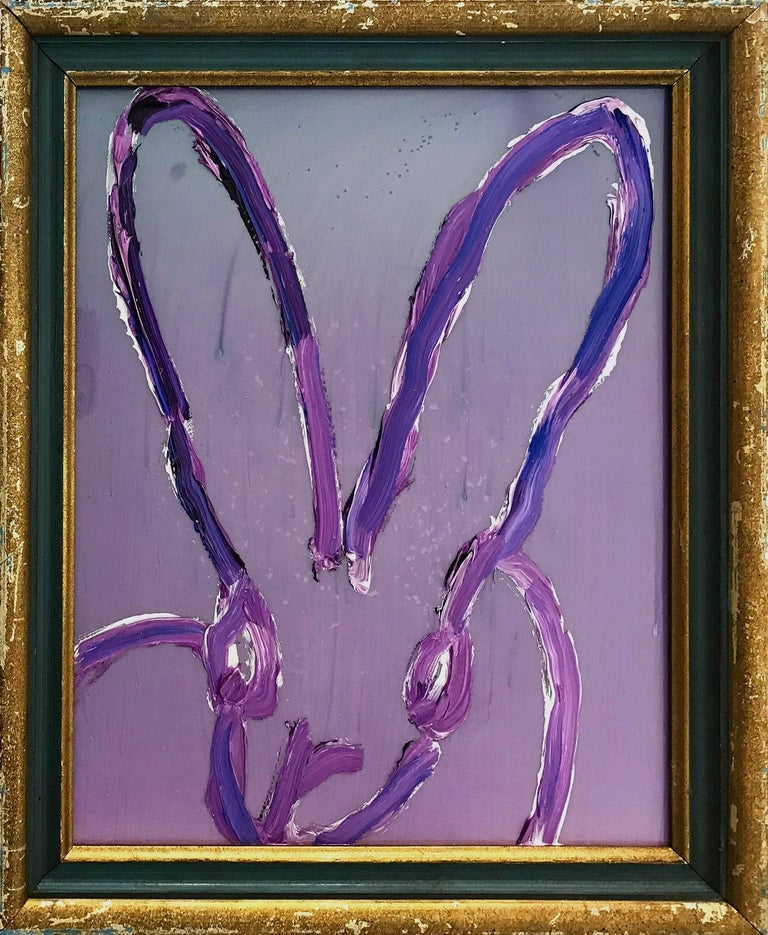 "Hunt Slonem Animal Painting - ""Untitled"" (Pearl Purple Fantasy) Oil and Mixed Media Painting on Wood Panel"