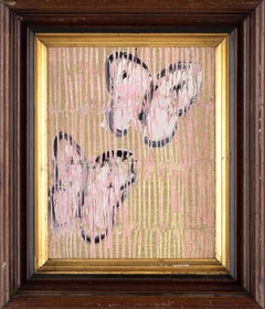 """Untitled (Pink Butterflies on Metallic Gold Surface, Pink Ascension) Oil Paint"