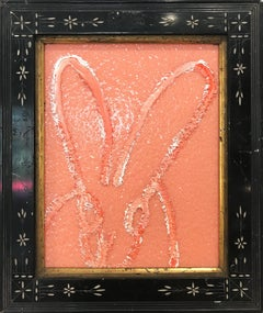 """Untitled"" (Resin and Diamond Dust Bunny on Peach) Oil Painting on Wood Panel"