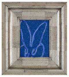 Diamond Dust Bunny Cobalt Blue, Antique Silver Geometric Frame