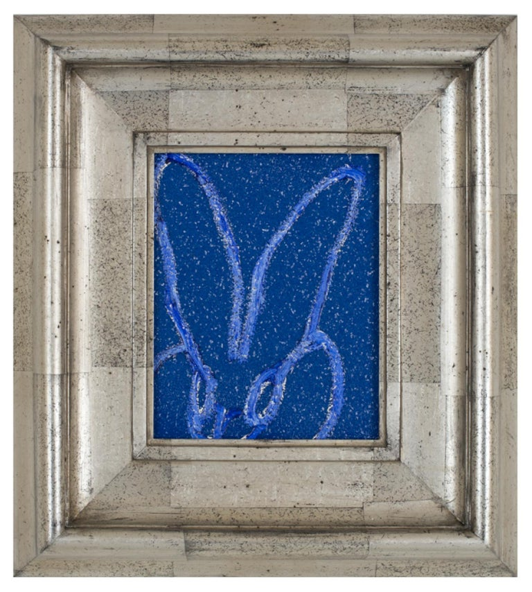 Hunt Slonem Animal Painting - Diamond Dust Bunny Cobalt Blue, Antique Silver Geometric Frame