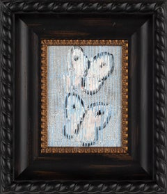 """Untitled (White Butterflies on Metallic Silver Surface with Light Blue Scoring)"