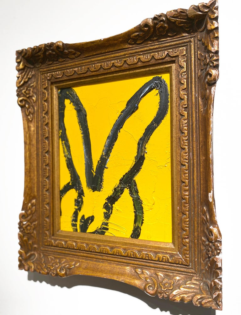 Untitled (Yellow Bunny) - Brown Animal Painting by Hunt Slonem