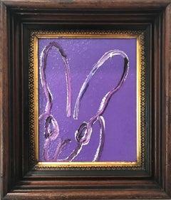 """""""Viola 2"""" (Bunny on Purple Diamond Dust Background) Oil Painting on Wood Panel"""