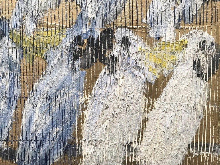 Whisperers, White and Blue Cockatoos on Gold Background 7