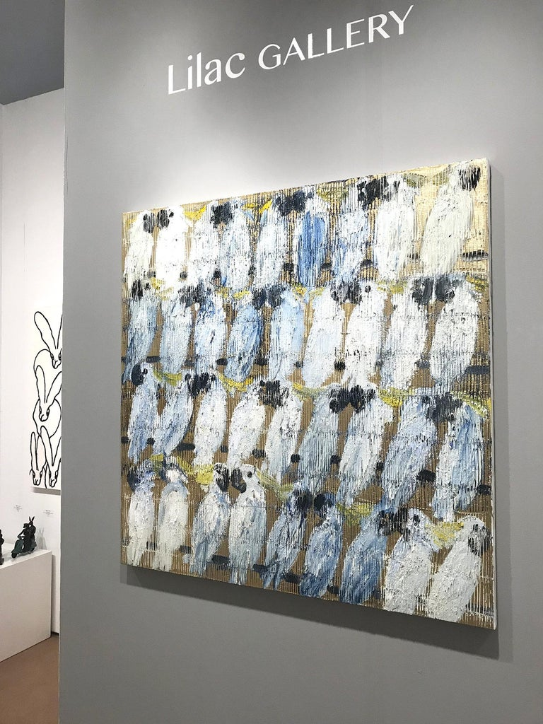 Whisperers, White and Blue Cockatoos on Gold Background - Contemporary Painting by Hunt Slonem