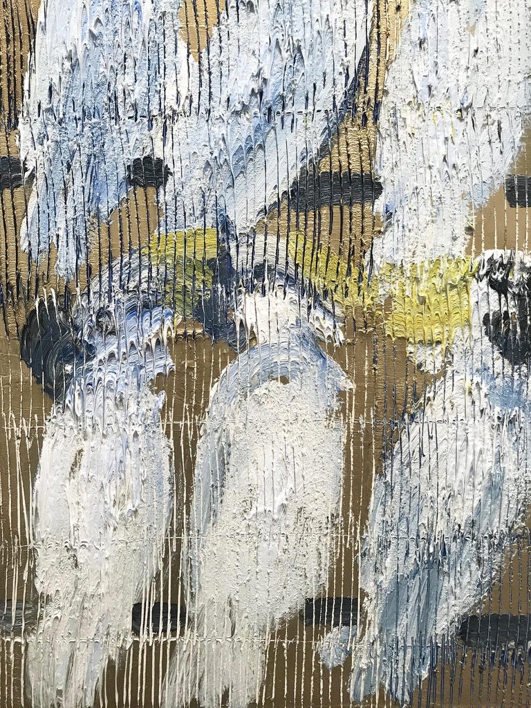 Whisperers, White and Blue Cockatoos on Gold Background 1