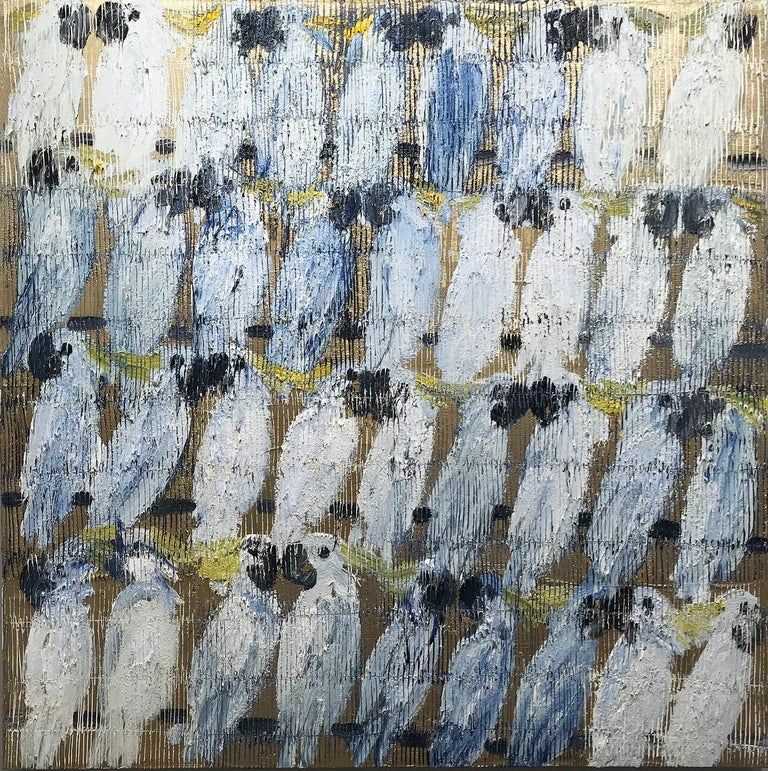 Hunt Slonem Animal Painting - Whisperers, White and Blue Cockatoos on Gold Background