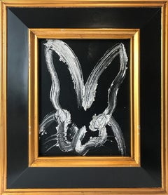 """""""Wide Mark"""" (Silver Bunny on Black Background) Oil Painting on Wood Panel"""