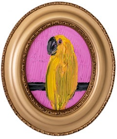 """Yellow Bird"" (Oval Yellow Cockatoo with Pink Background on Wood Panel)"