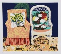 Chair Duet, Silkscreen by Hunt Slonem, 1981