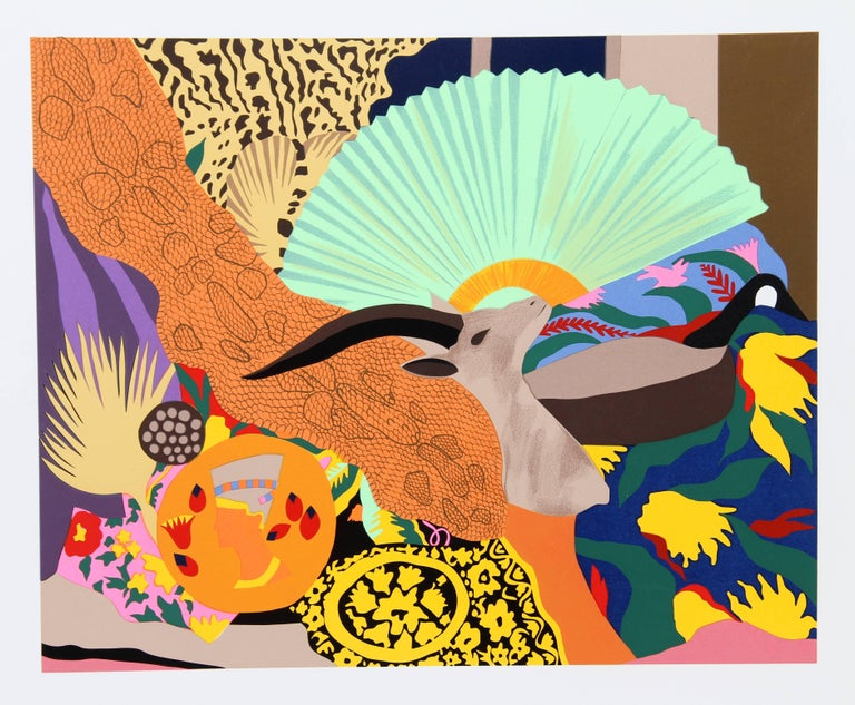 This serigraph was created by contemporary American artist Hunt Slonem. Slonem is best known for his Neo-Expressionist paintings and bright tropical palette, and his subject matter often includes tropical birds, based on a personal aviary in which
