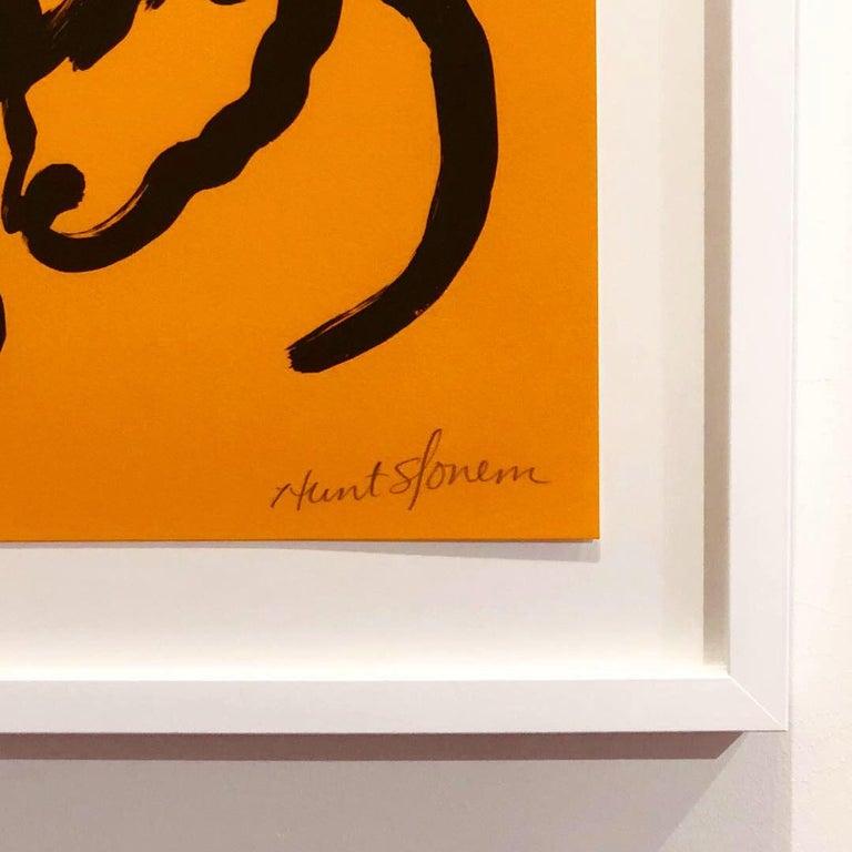 Orange Bunnies - Contemporary Print by Hunt Slonem