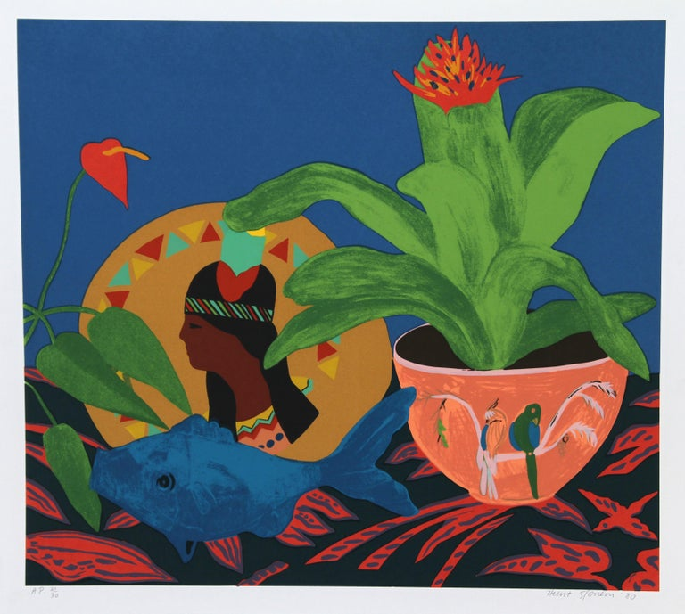 Artist:  Hunt Slonem, American (1951 - ) Title:  Pocahontas Pillow Year:  1980 Medium:  Serigraph, signed and numbered in pencil Edition:  AP 30 Size:  26 x 29 inches