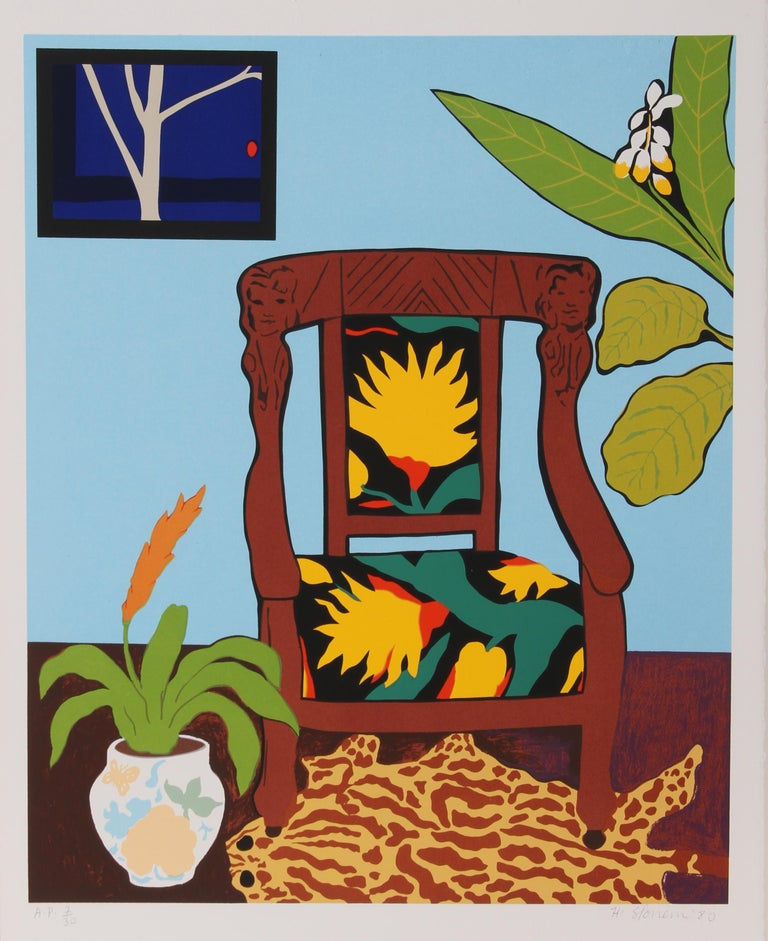 Artist:  Hunt Slonem, American (1951 - ) Title:  Shell Ginger Year:  Circa 1980 Medium:  Serigraph, signed and numbered in pencil Edition:  175, AP 30 Image Size:  25 x 20 inches Size:  30 in. x 22 in. (76.2 cm x 55.88 cm)