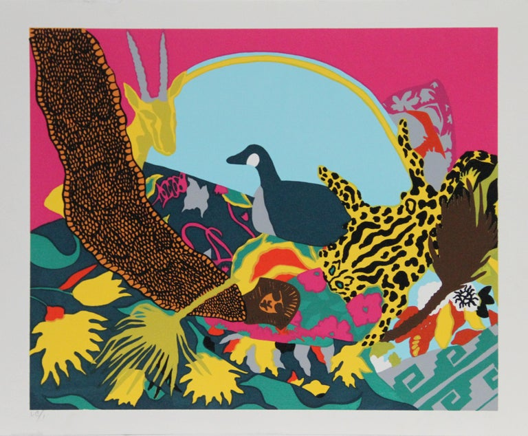 Artist:  Hunt Slonem, American (1951 - ) Title:  Spell III Year:  1980 Medium:  Serigraph, signed and numbered in pencil Image Size:  19 x 23.5 inches Size:  22 in. x 30 in. (55.88 cm x 76.2 cm)