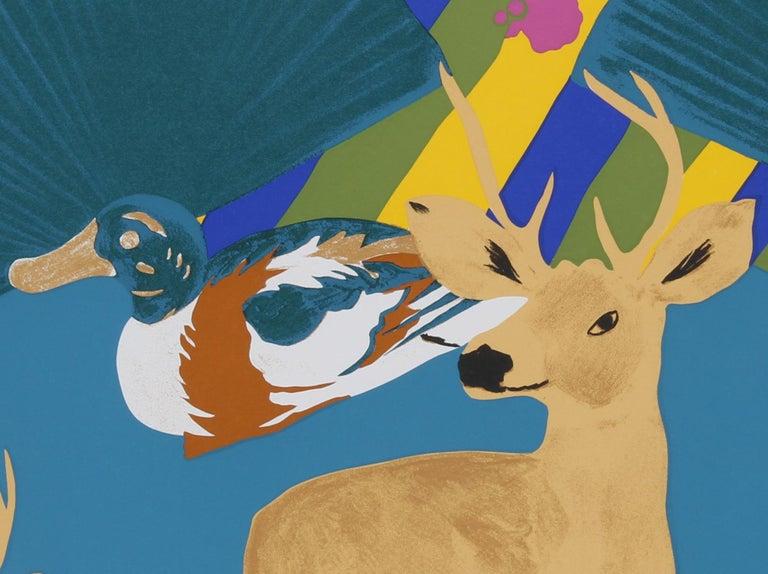 Three Deer, Pop Art Screenprint by Hunt Slonem For Sale 1