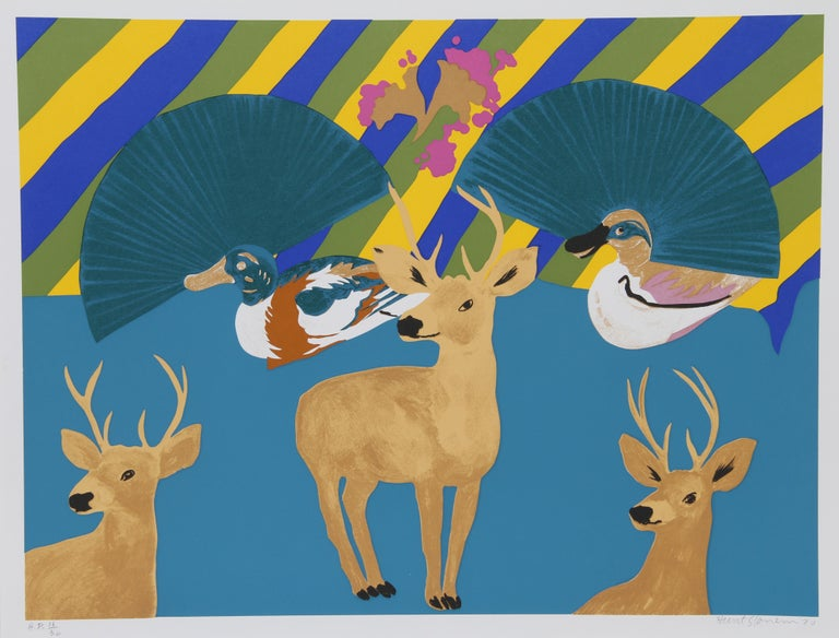 Artist:  Hunt Slonem, American (1951 - ) Title:  Three Deer Year:  1980 Medium:  Serigraph, signed and numbered in pencil Edition:  AP 30 Image Size:  24 x 32 inches Size:  26 in. x 34 in. (66.04 cm x 86.36 cm)